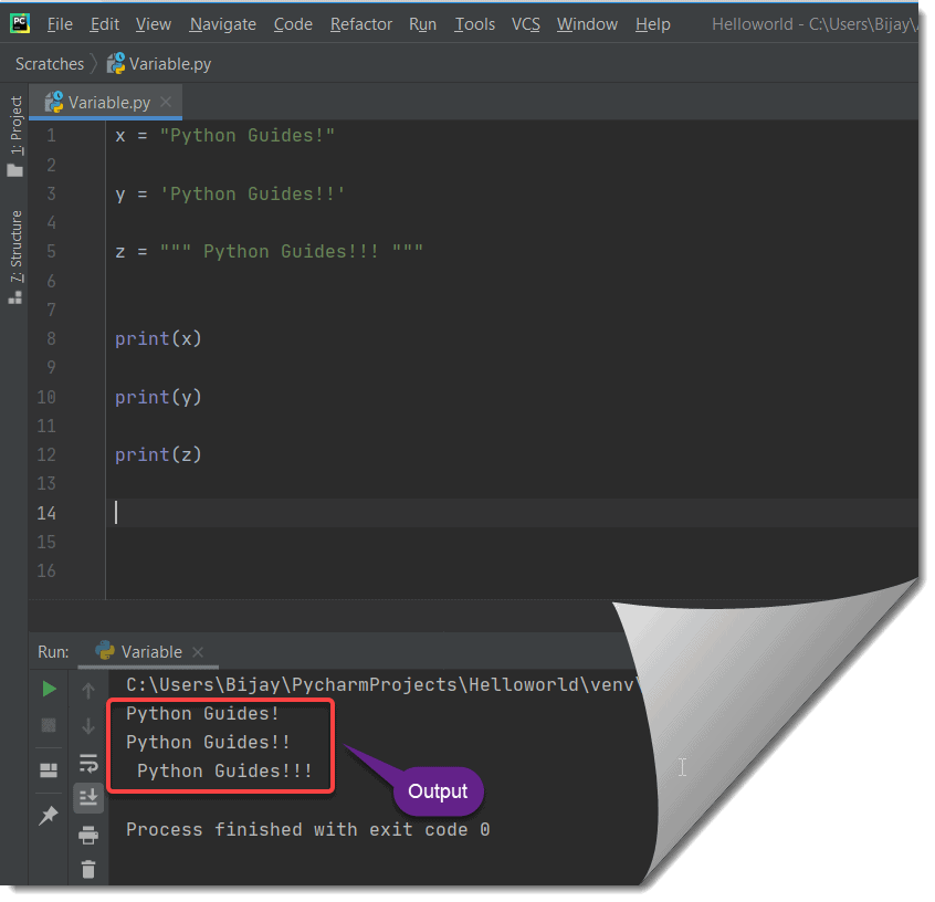 Create a string and assign it to a variable