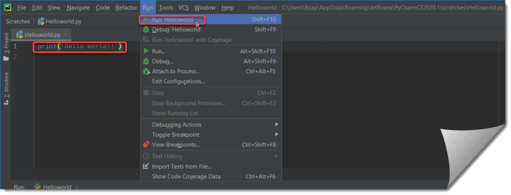 Create a hello world Program using python 3.8 and Pycharm 2020.1.
