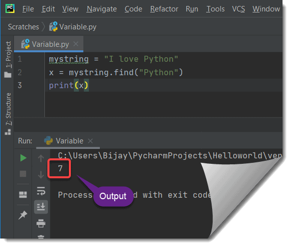 How to use find method in python