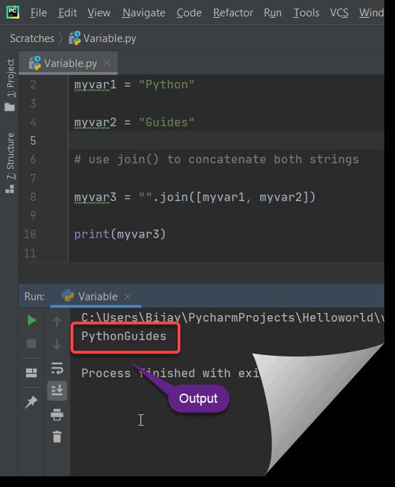 concatenate strings using join method