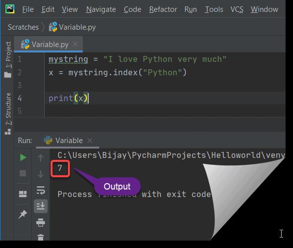 index method in python