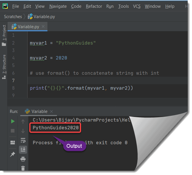 format() function to concatenate one string and an int type