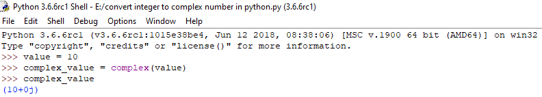How to convert integer to complex in python
