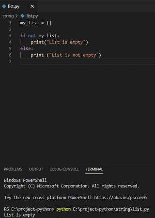 Check if a list is empty in Python