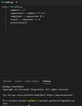 Python square number check