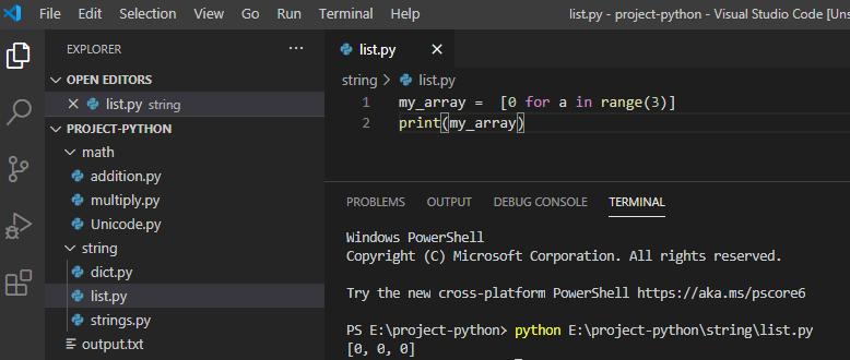 Create empty array Python