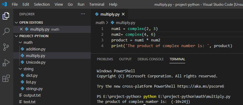 How to multiply complex numbers in Python