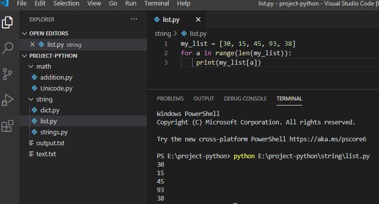 Iterate through a list using range() method in python