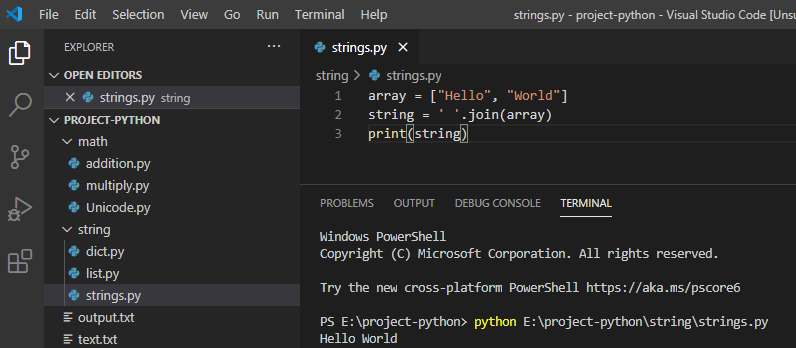 Python convert array to string