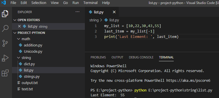Python get last element in the list