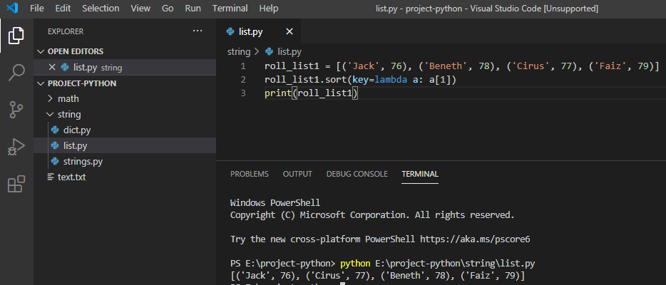 Python sort list of tuples by second element