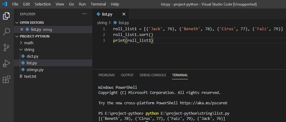 Python sort list of tuples