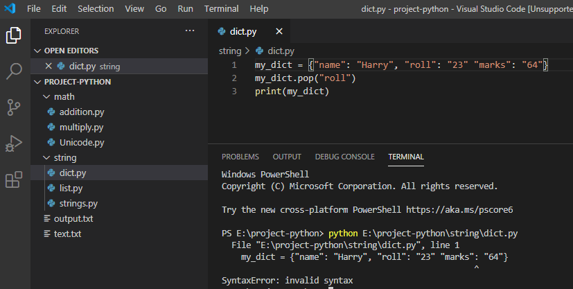 invalid syntax in python