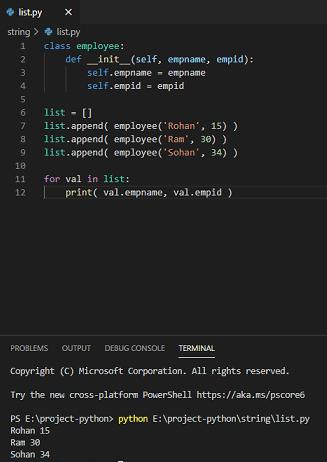 Python creates a list of objects