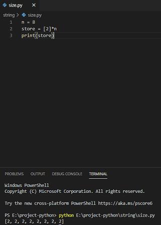 Python create list of size n