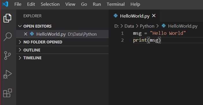 python hello world program using vs code