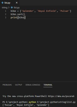 python list sort