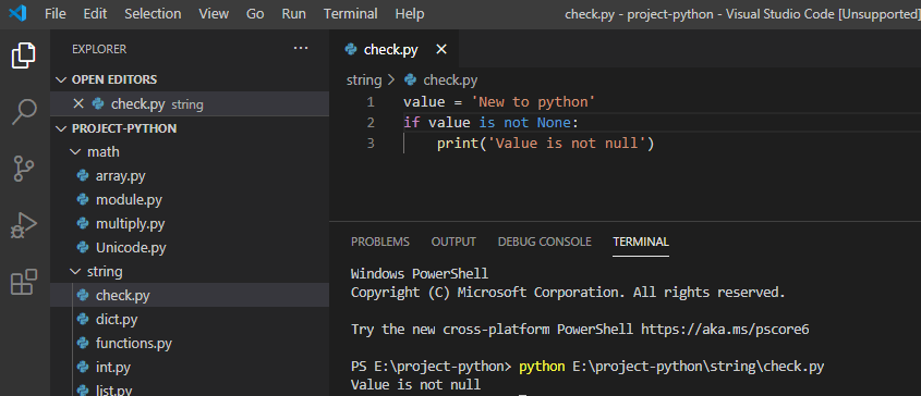 Check if the variable is not null in python