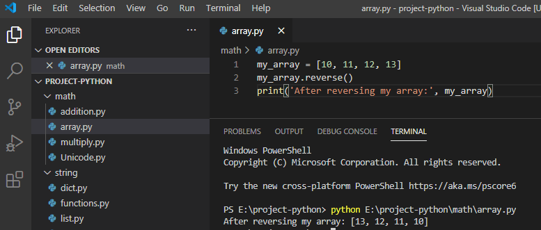How to reverse an array in python