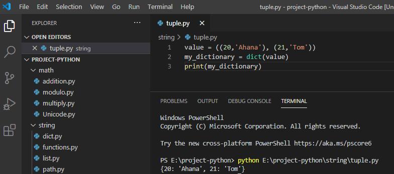 Python convert tuple to dictionary