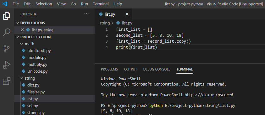 Python copy elements from one list to another
