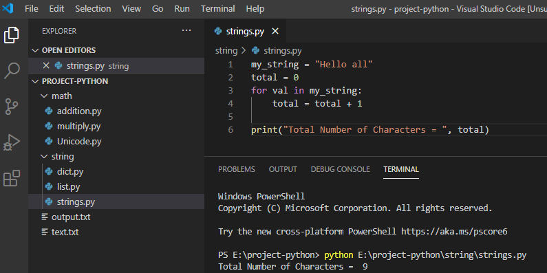 Python count characters in a string