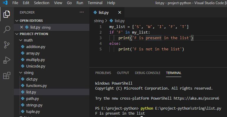 Python list contains a string