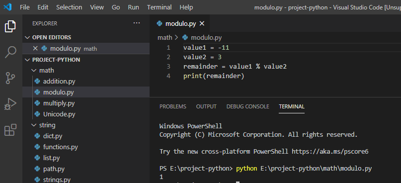 Python modulo with negative numbers
