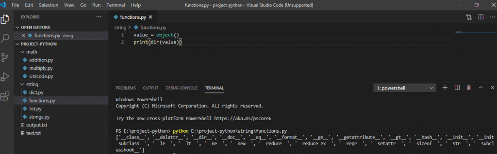 Python object function