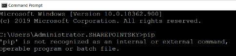 Python pip is not recognized as an internal or external command