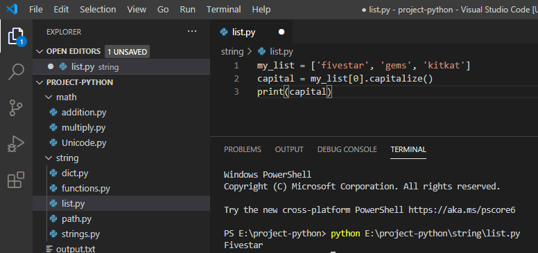 Python uppercase first letter in a list