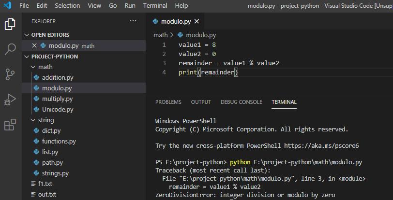 Python zero division error