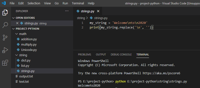 Remove newline from string python