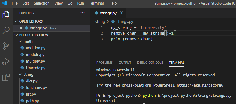 Remove the last character from string python
