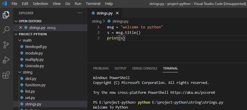 String title method python