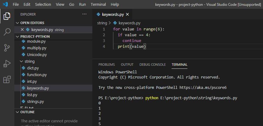 continue keyword in python