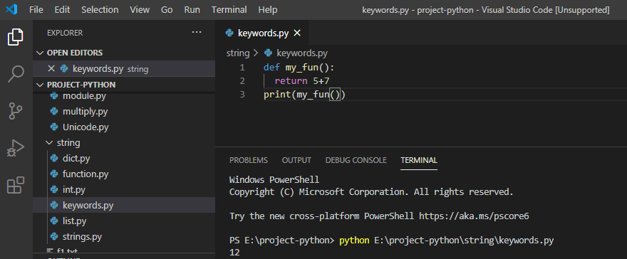 return keyword in python