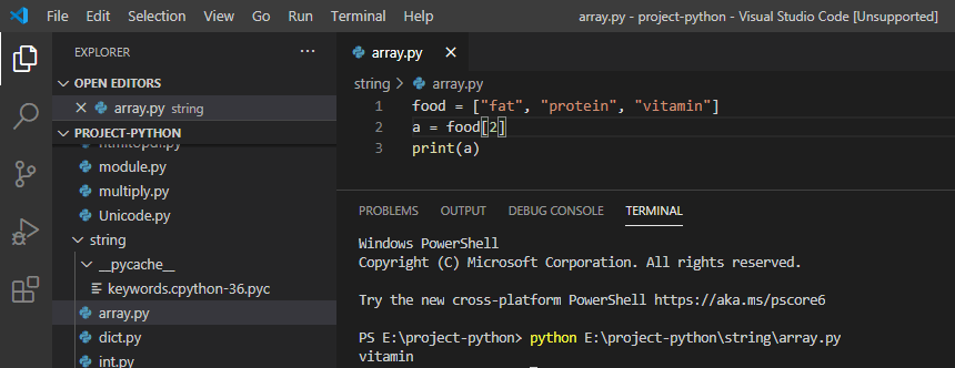 Access elements from Arrays python