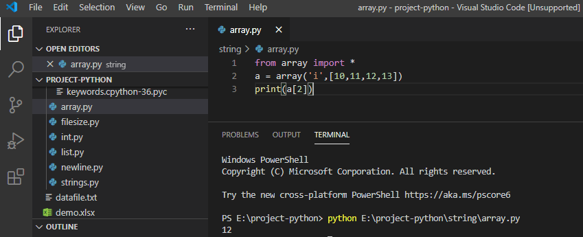 Accessing Array elements in python