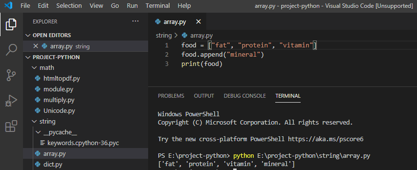 Add Array elements in python