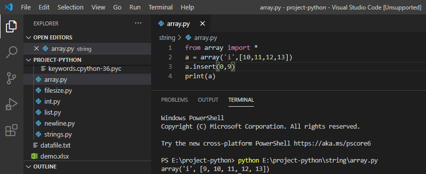Insert element in array python