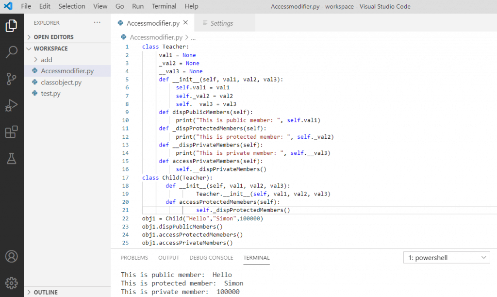 Program with the use of all the above three access modifiers in python