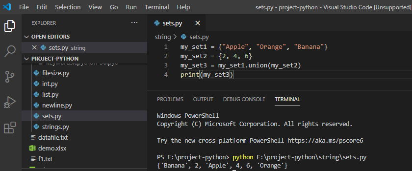 Python join two set