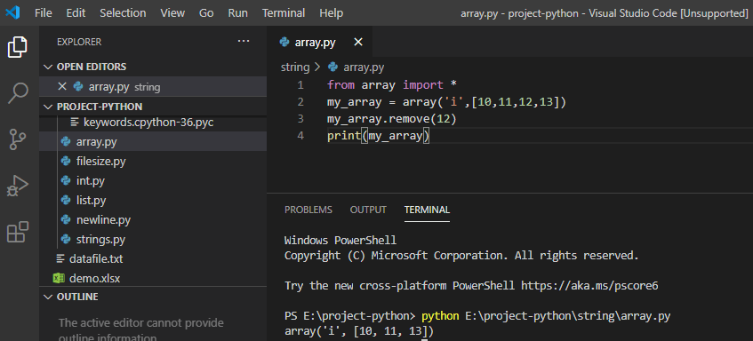 Remove element from an array in python