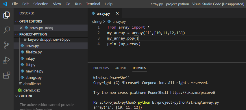 Remove the last element from array python