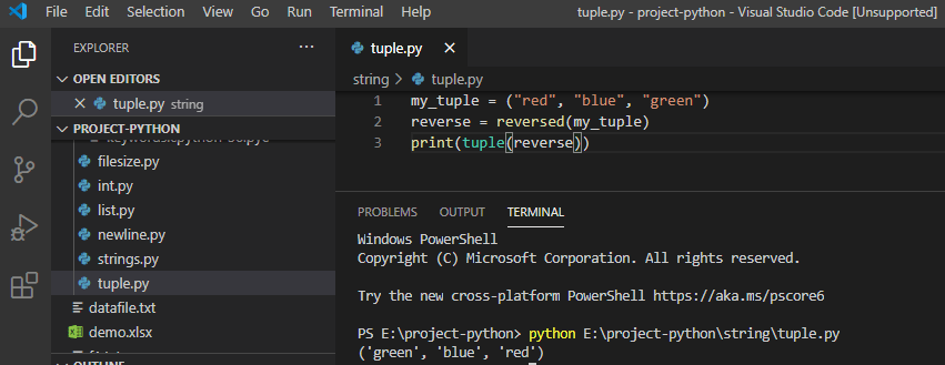 Reverse a tuple in python