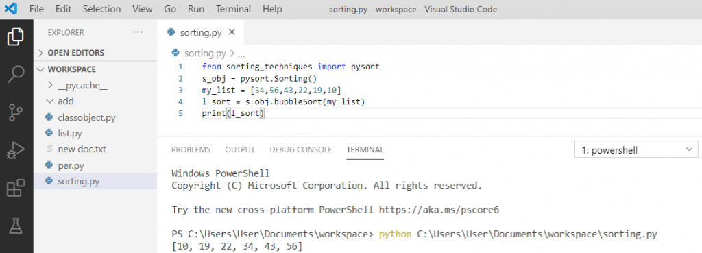 Bubble sort using the library in python