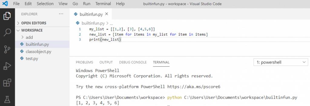 Flatten a list of lists in python