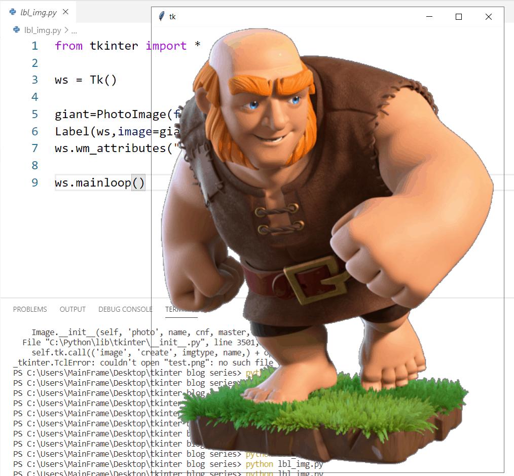 Python Label transparent background