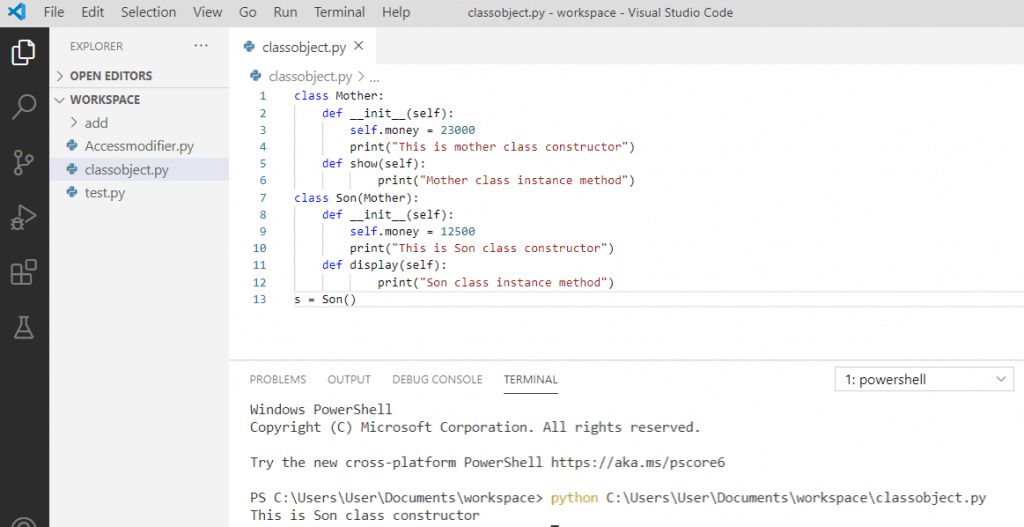 Python constructor overriding